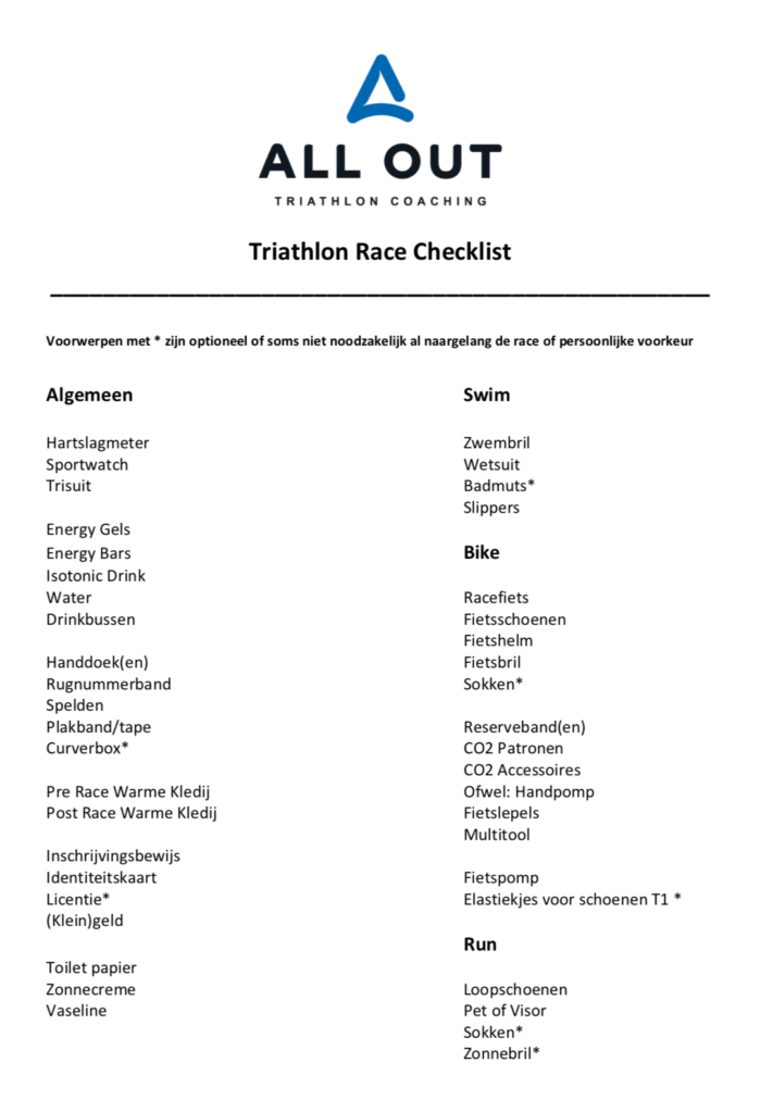 Triathlon Race Checklist